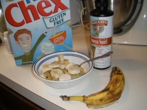 barlean`s omega swirl, rice chex, banana
