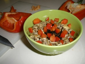 raw wild rice pilaf red bell pepper