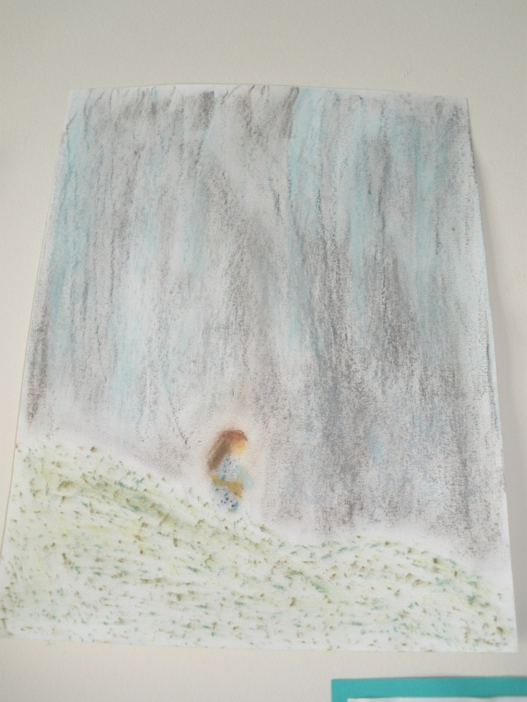 chalk pastel rainign fields