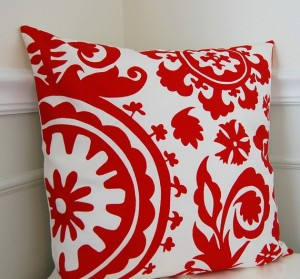 Suzani Decorative Pillow Cover, Lipstick Red Throw Pillow, Cusion Cover, 18x18, $24