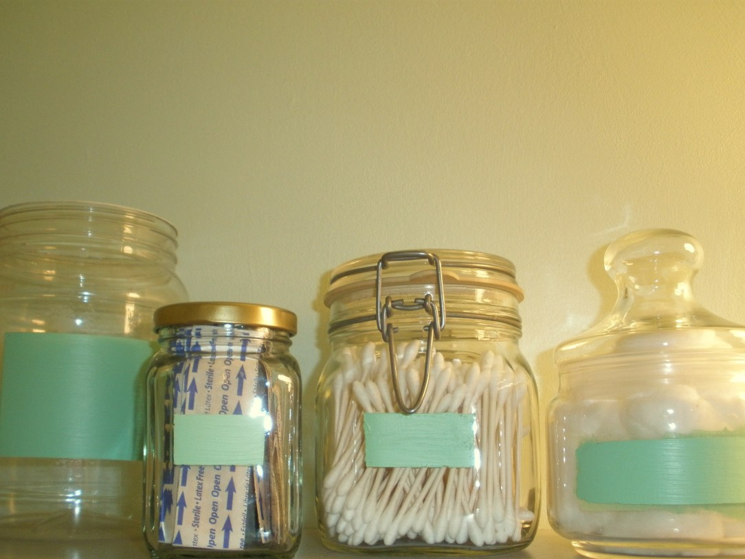 upcycled glass apothecary and jam jars with mint chalkboard paint labels